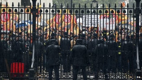 Firefighters protesting outside the gates of Downing Street in London