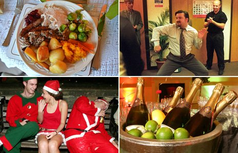 Composite image showing, clockwise from top left: A Christmas dinner, David Brent's party dance from The Office, champagne on ice and some Christmas revellers in Bath in 2006