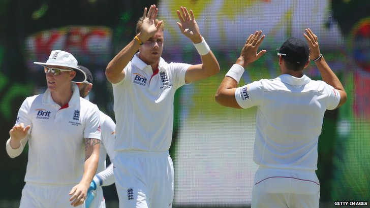 Stuart Broad celebrates after dismissing Shane Watson
