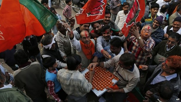 BJP supporters celebrate their party's performance in Delhi