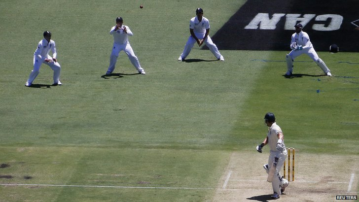 Shane Watson is caught by Graeme Swann
