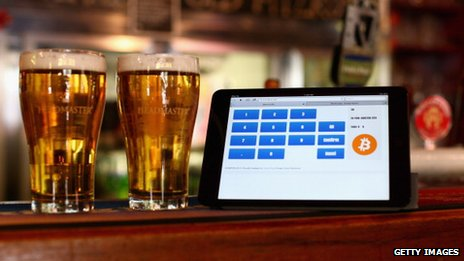 A Bitcoin payment terminal in a pub