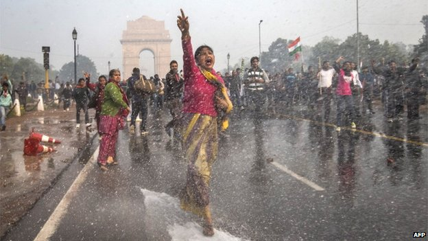 Protests against the gang-rape of a student in Delhi, December 2012