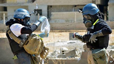 UN chemical weapons inspectors take samples in Ain Terma, Syria. 28 Aug 2013