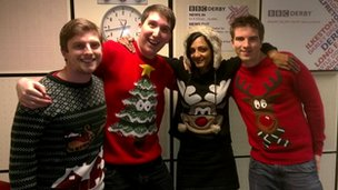 BBC Radio Derby breakfast team wearing Christmas jumpers