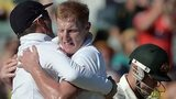 Ben Stokes celebrates after dismissing Brad Haddin
