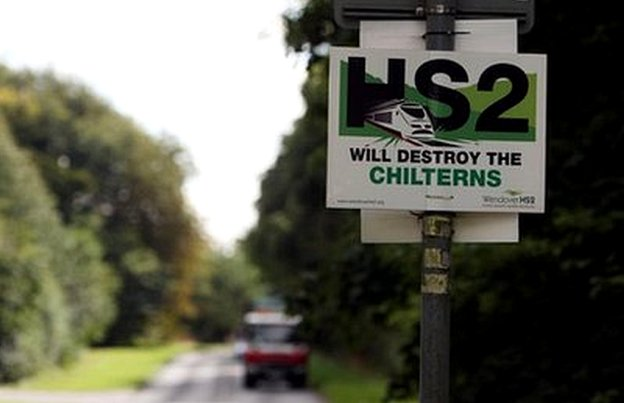 "Sign on side of country road says ""HS2 will destroy the Chilterns"""