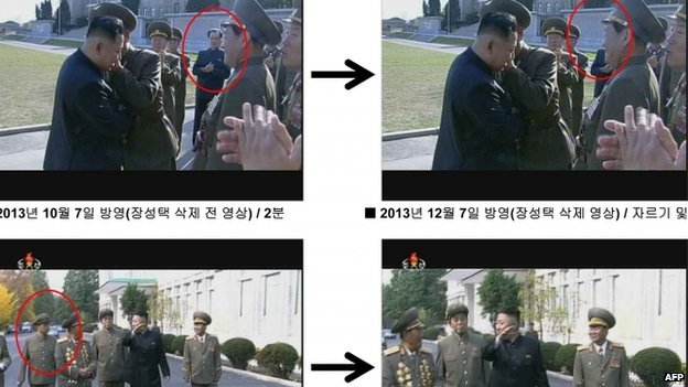 "This handout released on December 9, 2013 from South Korea""s Ministry of Unification shows before and after photos of still grabs taken from the documentary ""The Great Comrade"", re-broadcast on North Korean state broadcaster KCTV on December 7, 2013,"