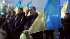 Pro-European Union activists with Ukrainian national flags in Independence Square in Kiev, Ukraine, 12 Dec, 2013