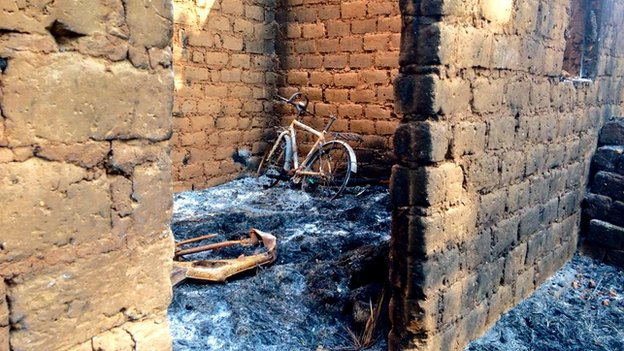 House of a Muslim family burnt after it was hit by a rocket propelled grenade.