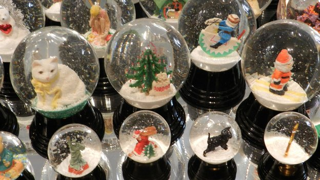 Various globes on display at Original Vienna Snow Globes