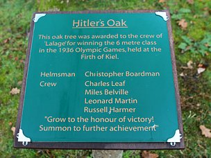 Hitler's oak plaque