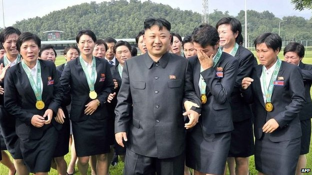 File photo: Kim Jong-un (C) with members of the North Korean women's football team