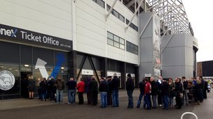 Fans queue for Derby v Chelsea tickets