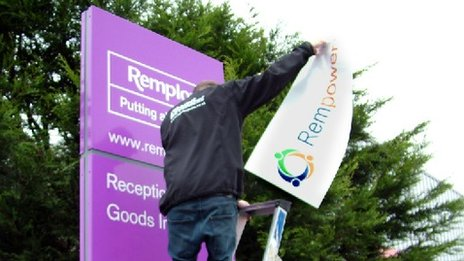 Remploy sign being altered