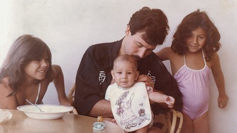Alberto Barragan with his family in 1984