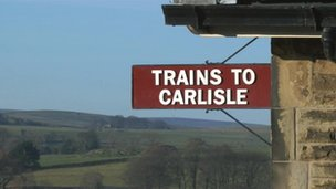 Sign at Settle railway station