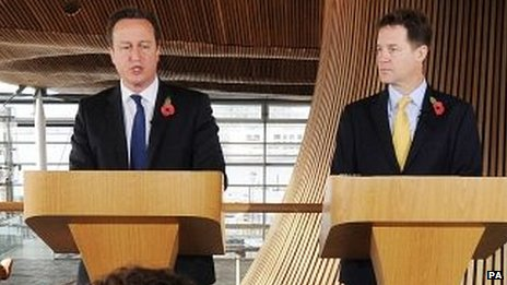 David Cameron and Nick Clegg at Cardiff