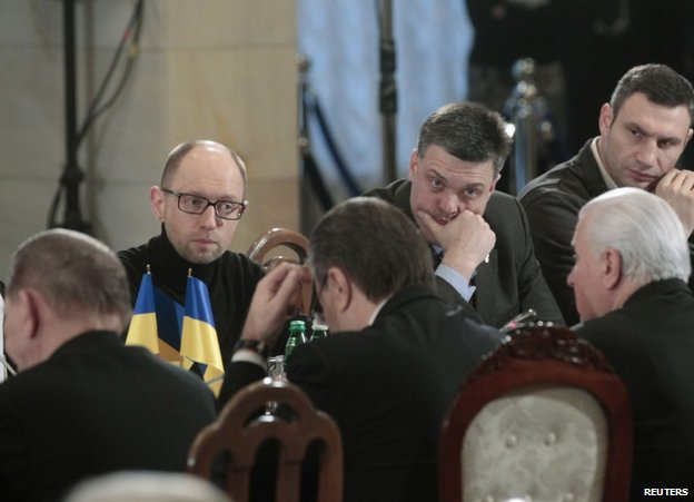 Protest leaders (from left) Arseniy Yatsenyuk, Oleh Tyahnybok and Vitaly Klitschko attend talks in Kiev, 13 December