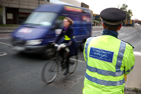 Police and cyclist