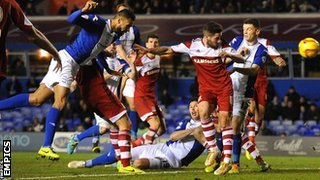 Kyle Bartley equalises for Birmingham against Middlesbrough