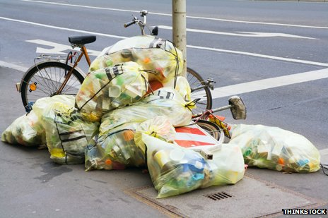 cyclist and rubbish
