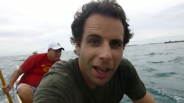 Mark Beaumont on an outrigger