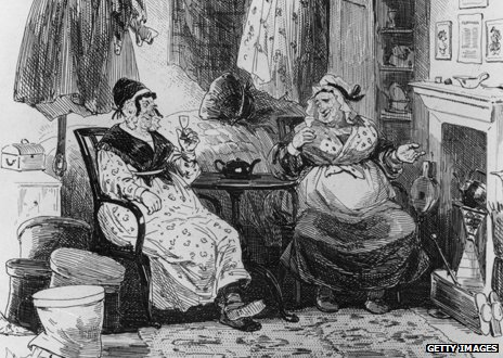 Two women drinking in a drawing based on a scene in Martin Chuzzlewit by Charles Dickens