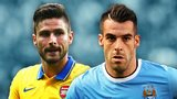 Olivier Giroud and Alvaro Negredo