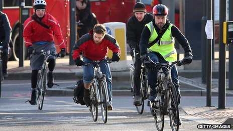 Cyclists commuting to work in London
