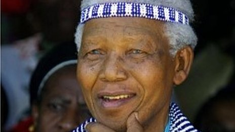 Nelson Mandela wearing traditional Xhosa dress