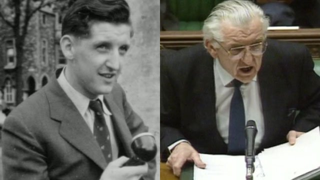 Wyn Roberts as a BBC journalist and as a minister