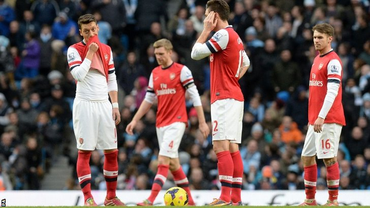 Arsenal players show their disappointment