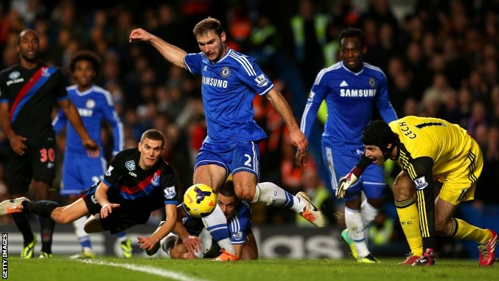 Branislav Ivanovic clears the ball for Chelsea