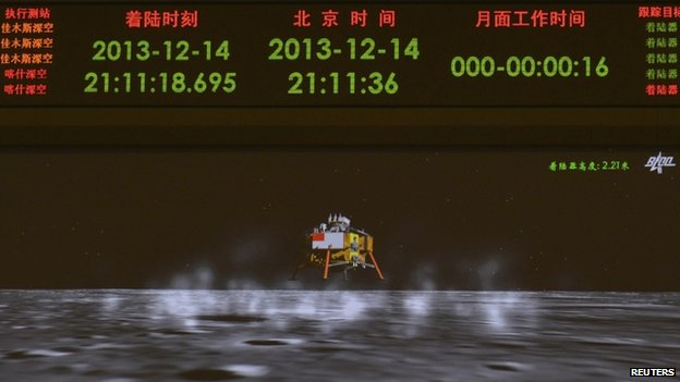 A giant screen at the Beijing Aerospace Control Center in Beijing showed an animated image of the module landing on the Moon