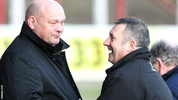 David Jeffrey with Glentoran manager Eddie Patterson