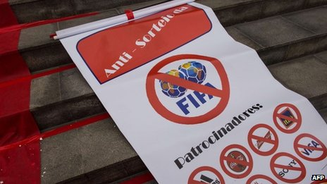 Protest sign at Maracana stadium in Rio, Brazil (6 Dec 2013)