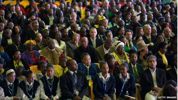 ANC supporters at the ceremony in Waterkloof airbase (14 Dec 2013)