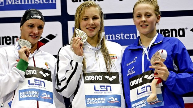 Katinka Hosszu from Hungary, left, Ruta Meilutyte from Lithuania, centre, and Siobhan-Marie O'Connor from Britain