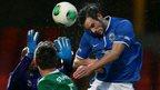 Andrew Waterworth heads in Linfield's opening goal in their 3-0 Irish Premiership win over Ballinamallard United