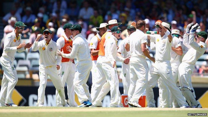 Australia celebrate the dismissal of Ian Bell