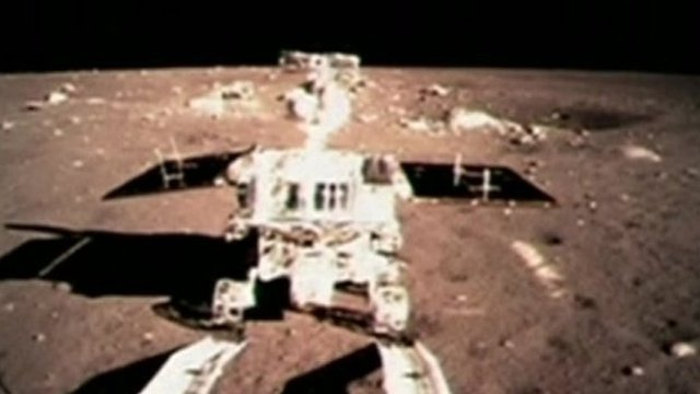 Space rover Jade Rabbit on the surface of the Moon