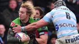 Charlie Walker on his way to scoring for Harlequins