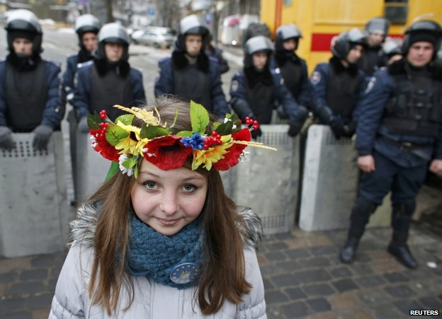A young pro-EU protester on Independence Square in Kiev, 15 December