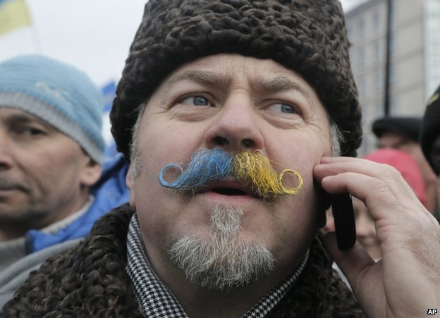 A pro-EU protester on Independence Square in Kiev, 15 December