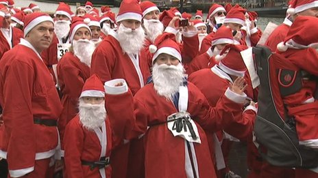 Santa runners in Bristol