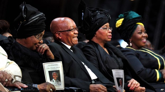 Winnie Madikizela-Mandela (L),, South African President Jacob Zuma, Nelson Mandela's widow Graca Machel and Zuma's wife Bongi Ngema (R)