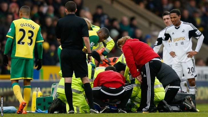 Nathan Dyer receives treatment on his ankle injury