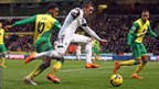 Swansea City's Pablo Hernandez skips past Norwich City midfielder Leroy Fer in a game which finished 1-1 at Carrow Road.