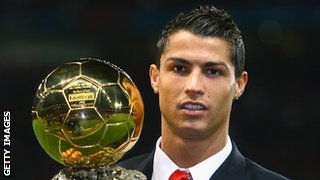 Cristiano Ronaldo with the 2008 Ballon d'Or award